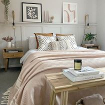 This soft airy bedroom hits the mark in every way when it comes to contemporary design. With fresh creamy tones, soft blush bedding, and light natural wood, we create a space that's both elegant and welcoming 👆Check the collection by following the Link in Bio!  📸 Via: @the_cornerhouse_ . . . . . #iamfy #art #artprints #styleinspiration #trending #cornerofmyhome