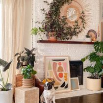 An earthy boho vibe can be calming and relaxing.  Create your own version of this look with just a few key accessories from our collection!  Link in bio to shop the look! 🐶  📸 Via: @homewithevelyn . . . . . #iamfy #art #artprints #styleinspiration #trending #cornerofmyhome