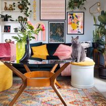 This collection of shades of pinks and greens is a great way to create a vibrant, inviting space in your home 💓 Create a gallery wall with a variety of statement art prints in bright colours, fresh florals, and eclectic word art. Frame each piece with black accents to make them pop against the soft coloured walls 🌿  Link in Bio to Shop the Look 👆  📸 Via: @vintageinteriorxx  . . . . . #iamfy #FyGalleryWall #cats #styleinspiration #trending #cornerofmyhome